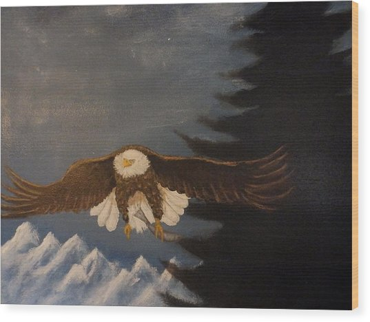 Eagle Flying Wood Print