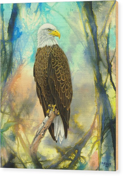 Eagle In Abstract Wood Print