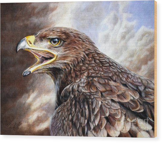 Eagle Cry Wood Print