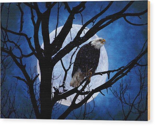 Eagle Night Wood Print