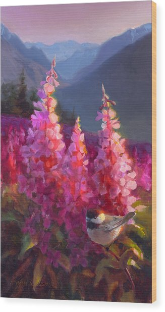 Eagle River Summer Chickadee And Fireweed Alaskan Landscape Wood Print