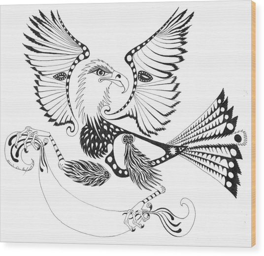 Eagle With A Banner Wood Print