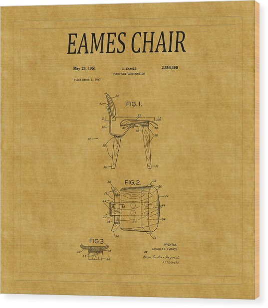 Eames Chair Patent 1 Wood Print