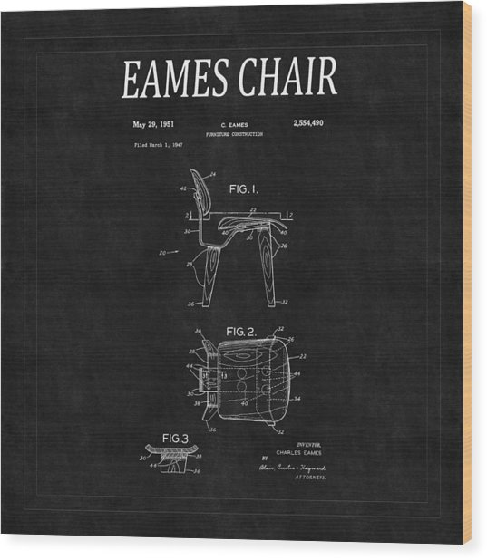 Eames Chair Patent 2 Wood Print