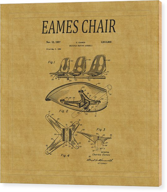 Eames Chair Patent 3 Wood Print