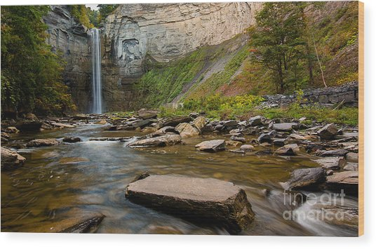 Early Autumn Morning At Taughannock Falls Wood Print