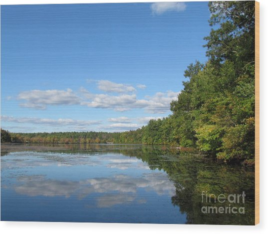 Early Autumn Scituate Reservoir Wood Print