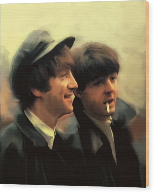 Early Days II John Lennon And Paul Mccartney Wood Print