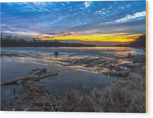 Early March Sunset Over Narew River In Poland Wood Print