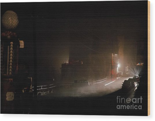 Early Misty Morning In Jerome Az Wood Print
