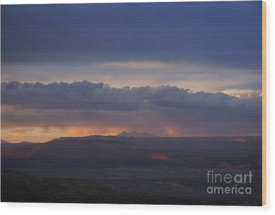 Early Monsoon Sunset Over San Francisco Peaks Wood Print