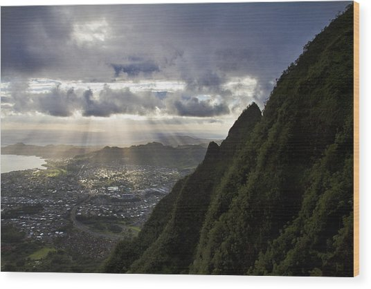Early Morning Above Kane'ohe Wood Print by Melinda Podor