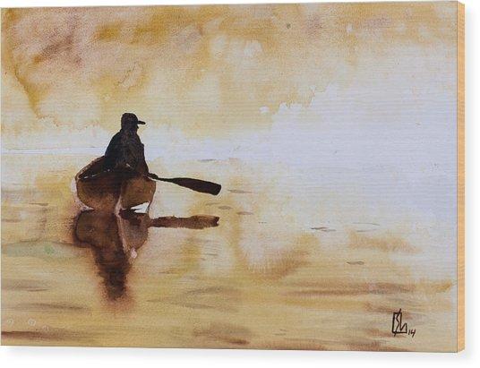 Early Morning Canoe Wood Print
