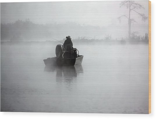 Early Morning Fishing Wood Print