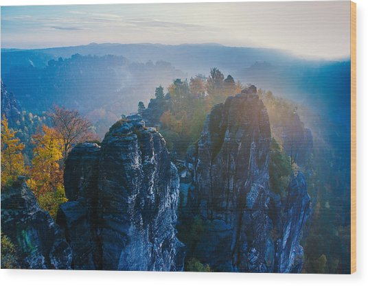 Early Morning Mist At The Bastei In The Saxon Switzerland Wood Print