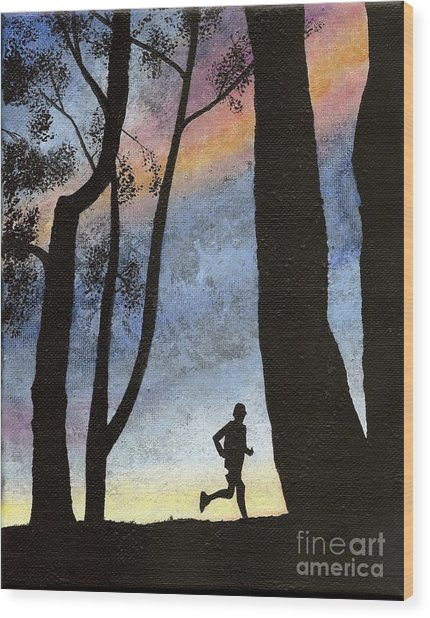 Early Morning Run Wood Print
