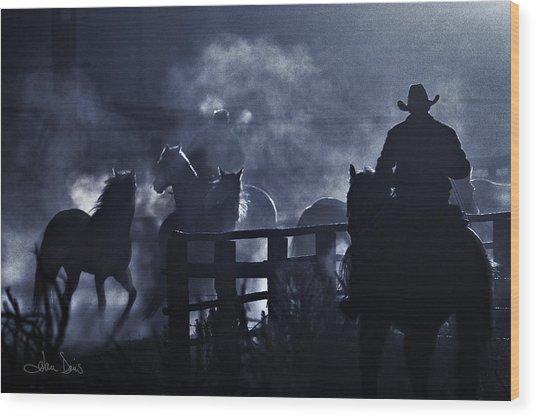 Early Morning Smoke Wood Print