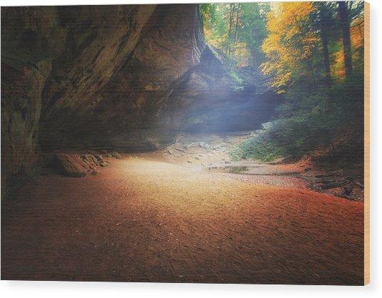Early Pre-dawn Mist At Ash Cave Wood Print