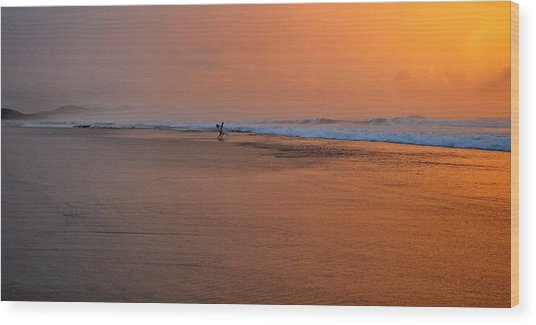 Dawn Sea Man Harmony Wood Print