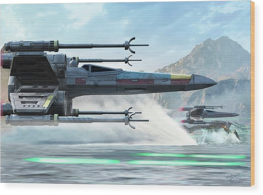 Early X-wing Model Cruising Over A Lake Wood Print