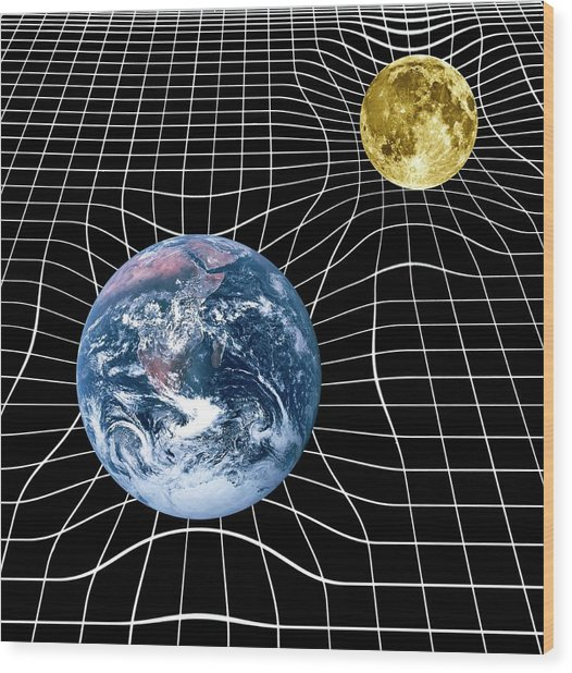 Earth And Moon Space-time Warp Wood Print