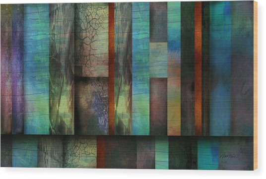 Earth And Sky  Abstract Art  Wood Print by Ann Powell