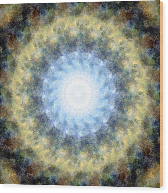 Earth And Sky Mandala Kaleidoscope Wood Print
