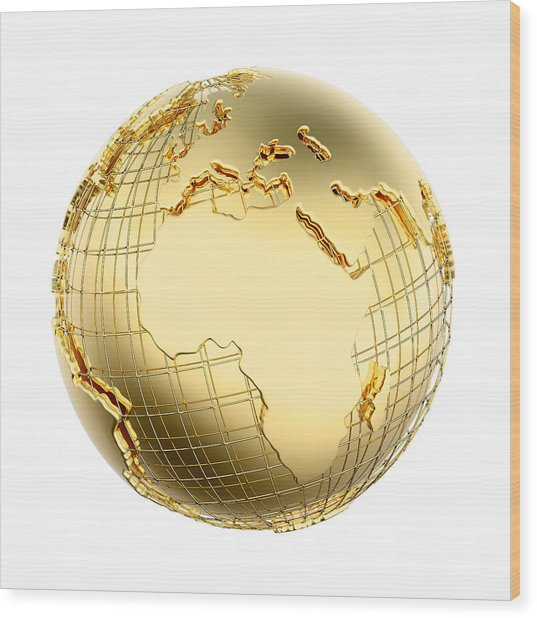 Earth In Gold Metal Isolated - Africa Wood Print