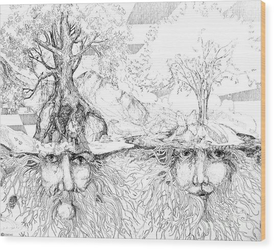 Earth People Wood Print