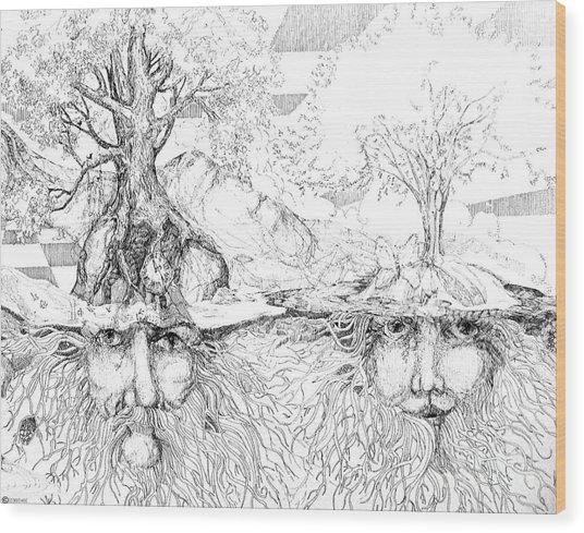 Earth People Wood Print