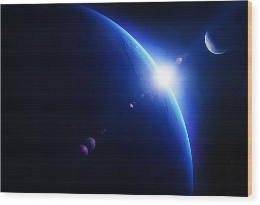Earth Sunrise With Moon In Space Wood Print