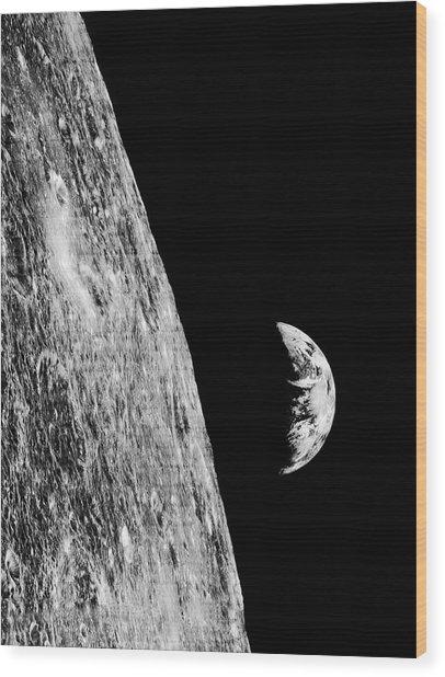 Earthrise From Lunar Orbiter 1 Wood Print