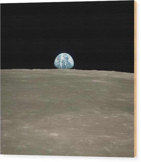 Earthrise Over Moon Wood Print