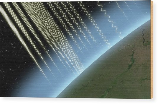 Earth's Atmosphere And Radiation Wood Print