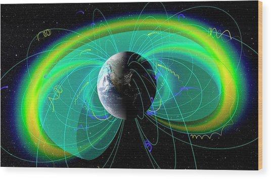 Earth's Radiation And Plasma Belts Wood Print