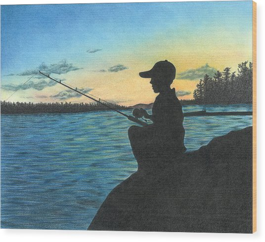 East Pond Wood Print