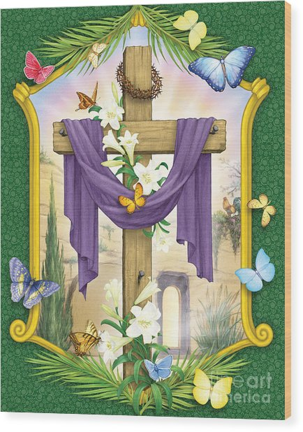 Easter Cross Wood Print