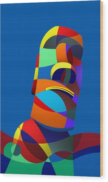 Easter Island Blue Wood Print
