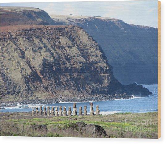 Easter Island Requiem Wood Print