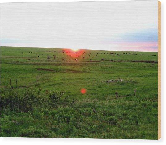 Eastern Kansas Sunset Wood Print
