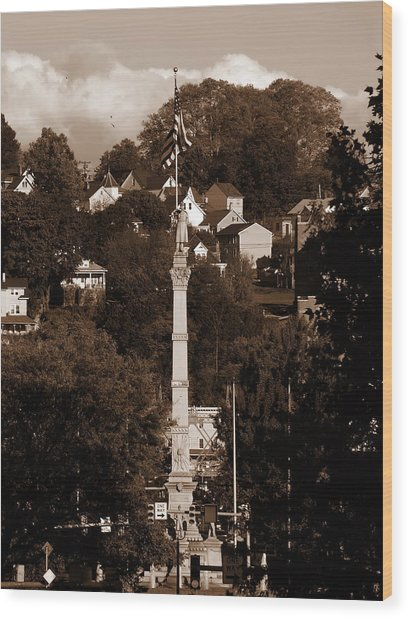 Easton Pa - Long View Of Civil War Monument In Sepia Wood Print by Jacqueline M Lewis