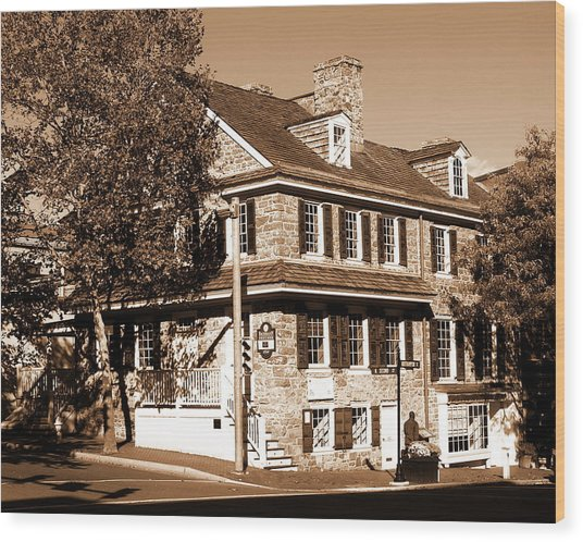 Easton Pa - Bachmann Publik House In Sepia Wood Print by Jacqueline M Lewis