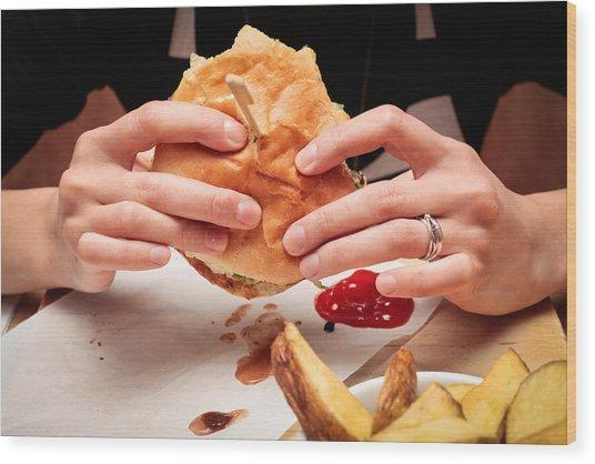 Eating Burger Wood Print
