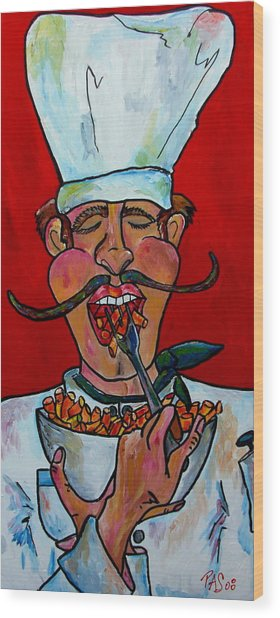 Eating On The Fly Wood Print by Patti Schermerhorn