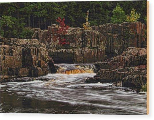 Waterfall Under Colored Leaves Wood Print