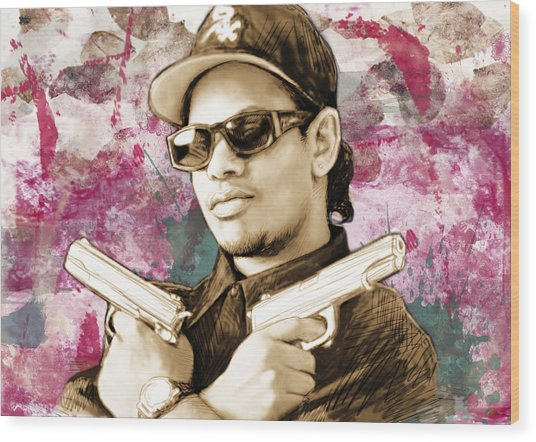 Eazy-e - Stylised Drawing Art Poster Wood Print by Kim Wang