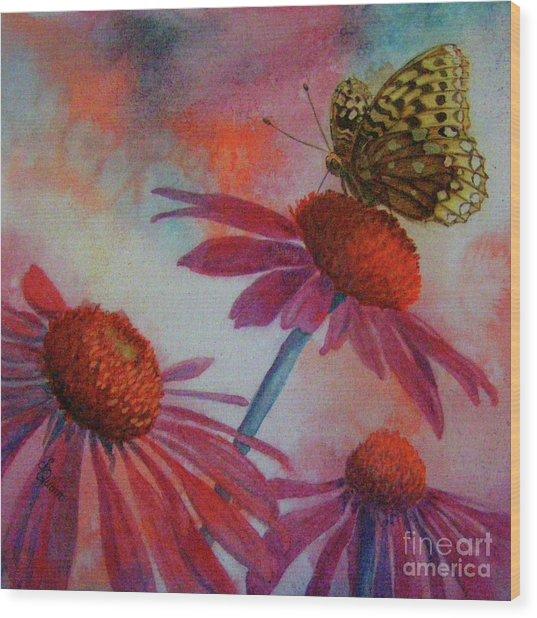 Echinacea Fritillaria Wood Print