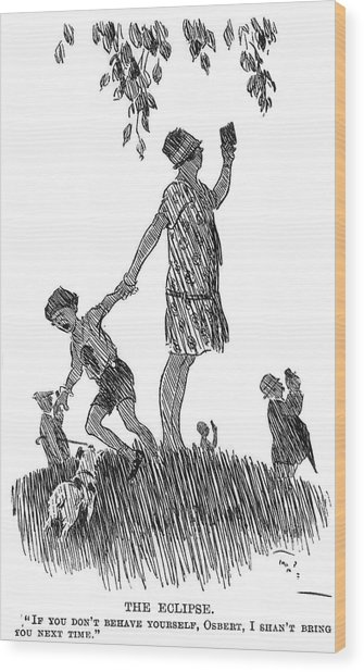 Eclipse Observation Cartoon Wood Print by Royal Astronomical Society/science Photo Library