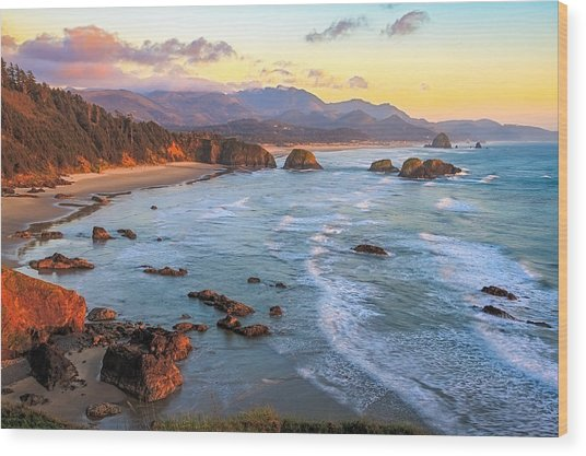 Ecola Beach Sunset Wood Print