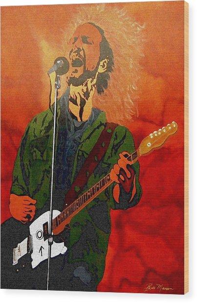 Eddie Vedder-eddie Live Wood Print